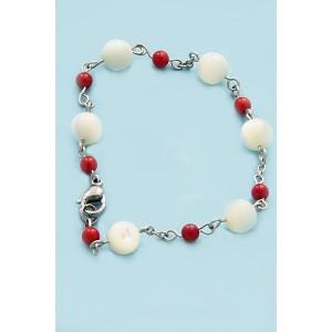 Perleť a červený Korál- Náramek