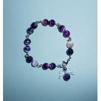 Achát fialový - Náramek
