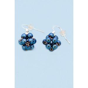 Kulička z Hematitu kovově modrá- Náušnice