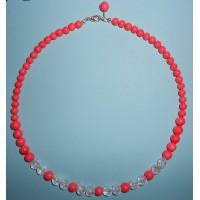Korál růžový a Křišťál- Náhrdelník