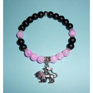 Onyx matný a pukaný křišťál růžový s přívěskem znamení Lva