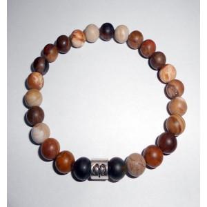 Zkamenele drevo a matny onyx - pánský náramek