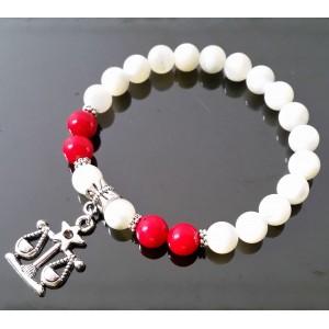 Perleť a červený Korál s přívěskem znamení Váhy