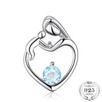 Stříbrný přívěsek Topaz modrý s Diamantem na řetízku