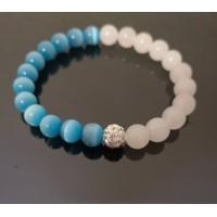 Kočičí oko modré a Měsíční kámen s zirkonovou kuličkou