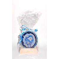 Svícen-Achát plátek modrý